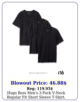 hugo boss men's pack vneck regular fit short sleeve tshirt black larg