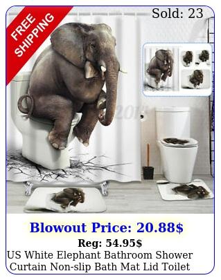 us white elephant bathroom shower curtain nonslip bath mat lid toilet cover ru