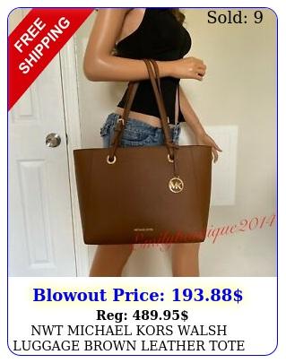 nwt michael kors walsh luggage brown leather tote shoulder bag handbag purs