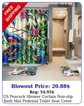 us peacock shower curtain nonslip bath mat pedestal toilet seat cover lid ru