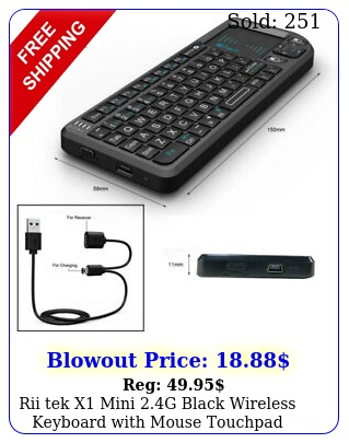 rii tek x mini g black wireless keyboard with mouse touchpad remote contro