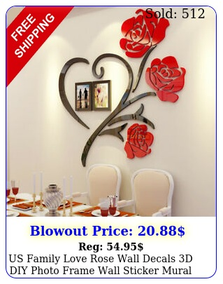us family love rose wall decals d diy photo frame wall sticker mural home deco