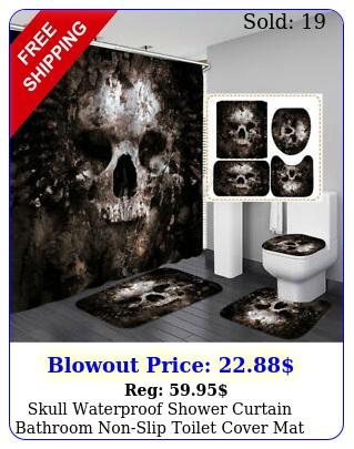 skull waterproof shower curtain bathroom nonslip toilet cover mat rug se