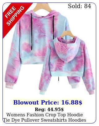 womens fashion crop top hoodie tie dye pullover sweatshirts hoodies thin tops s