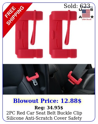 pc red car seat belt buckle clip silicone antiscratch cover safety accessorie