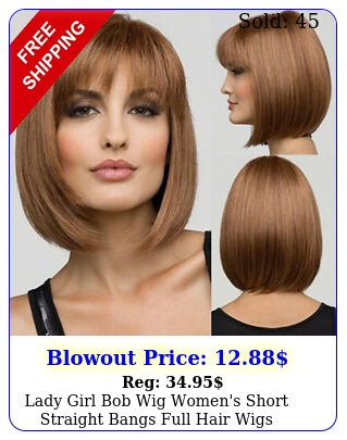 lady girl bob wig women's short straight bangs full hair wigs cosplay party us