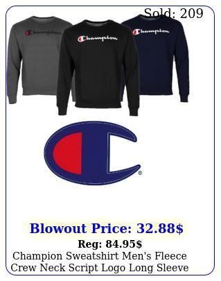champion sweatshirt men's fleece crew neck script logo long sleeve crew nec
