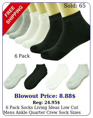 pack socks living ideas low cut mens ankle quarter crew sock size