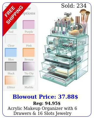 acrylic makeup organizer with drawers  slots jewelry cosmetics storag