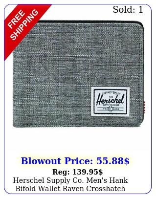 herschel supply co men's hank bifold wallet raven crosshatch accessories mo