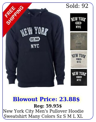 york city men's pullover hoodie sweatshirt many colors sz s m l xl