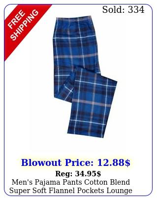men's pajama pants cotton blend super soft flannel pockets lounge bottom