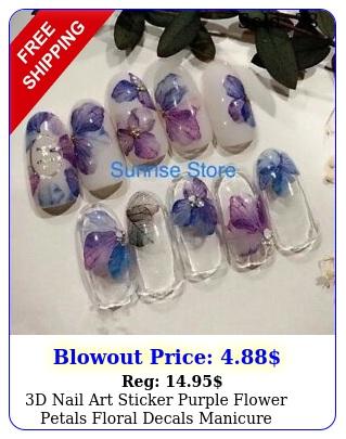 d nail art sticker purple flower petals floral decals manicure decoration di