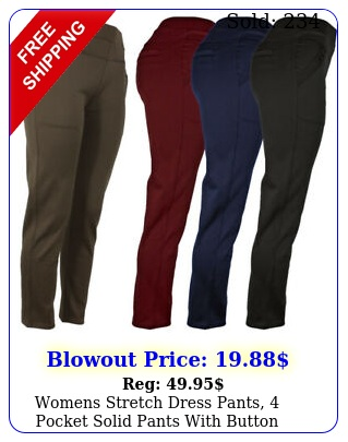 womens stretch dress pants pocket solid pants with button decoratio