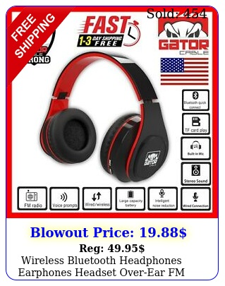 wireless bluetooth headphones earphones headset overear fm radio mic foldabl