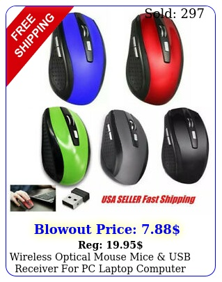 wireless optical mouse mice usb receiver pc laptop computer dpi us