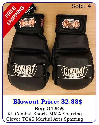 xl combat sports mma sparring gloves tgs martial arts sparring black large uf