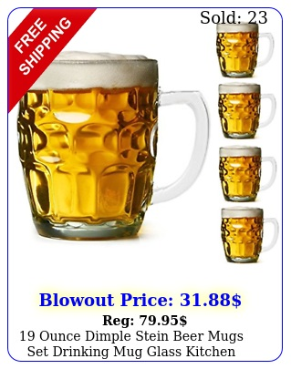 ounce dimple stein beer mugs set drinking mug glass kitchen dining bar pac