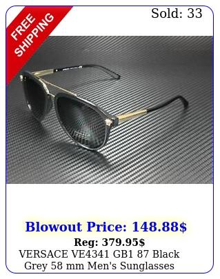 versace ve gb black grey mm men's sunglasse