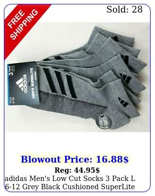 adidas men's low cut socks pack l grey black cushioned superlite msr