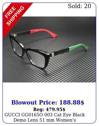 gucci ggo cat eye black demo lens mm women's eyeglasse
