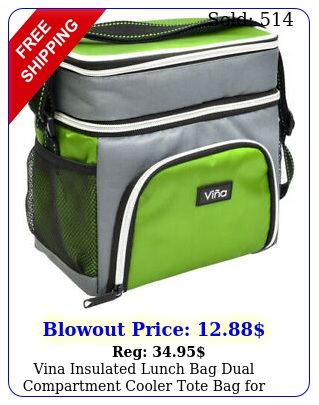 vina insulated lunch bag dual compartment cooler tote bag men women adul