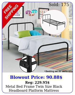 metal bed frame twin size black headboard platform mattress foundation bedroo