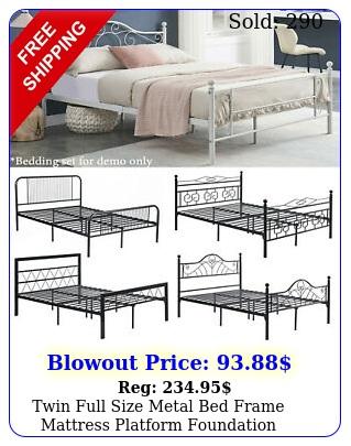 twin full size metal bed frame mattress platform foundation headboard footboar