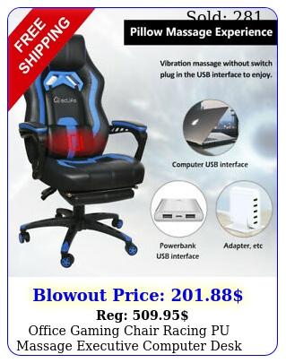 office gaming chair racing pu massage executive computer desk seat swivel blu