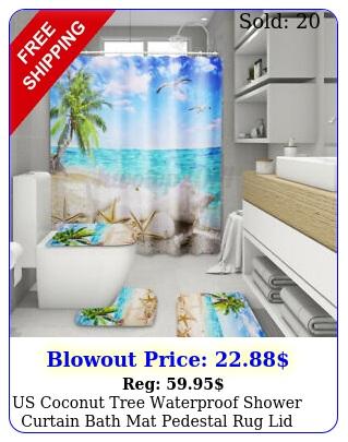 us coconut tree waterproof shower curtain bath mat pedestal rug lid toilet cove