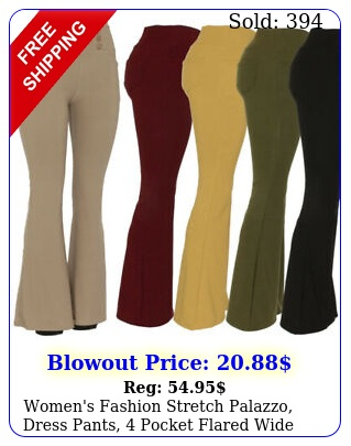women's fashion stretch palazzo dress pants pocket flared wide leg trouser