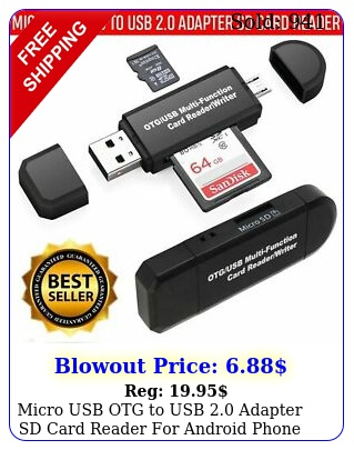 micro usb otg to usb adapter sd card reader android phone tablet p