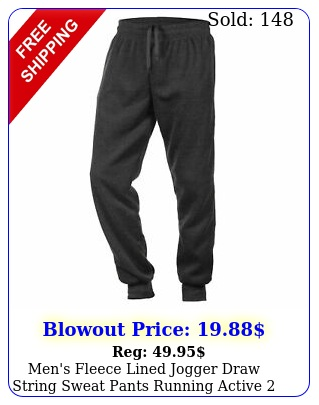 men's fleece lined jogger draw string sweat pants running active side pocket