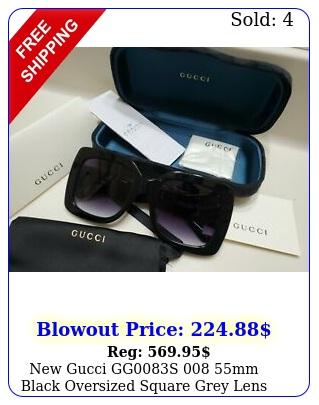 gucci ggs mm black oversized square grey lens sunglasse