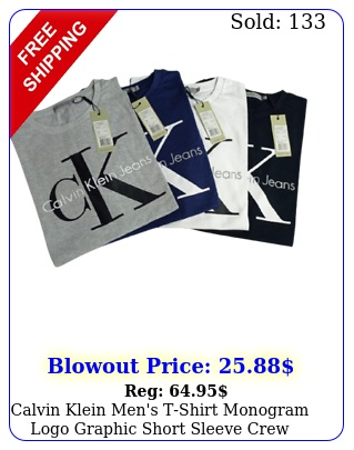 calvin klein men's tshirt monogram logo graphic short sleeve crew neck te