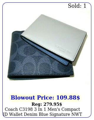 coach c in men's compact id wallet denim blue signature nw