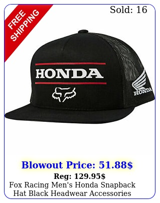 fox racing men's honda snapback hat black headwear accessories streetwear mo