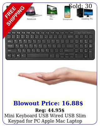 mini keyboard usb wired usb slim keypad pc apple mac laptop notebook table