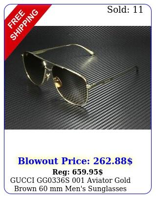 gucci ggs aviator gold brown mm men's sunglasse