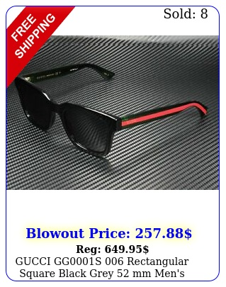 gucci ggs rectangular square black grey mm men's sunglasse