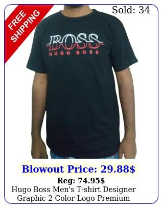 hugo boss men's tshirt designer graphic color logo premium cotton shir