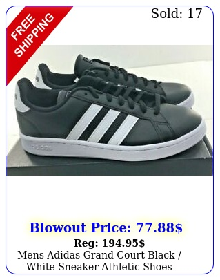 mens adidas grand court black white sneaker athletic shoes