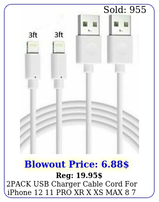 pack usb charger cable cord iphone  pro xr x xs max  s plu