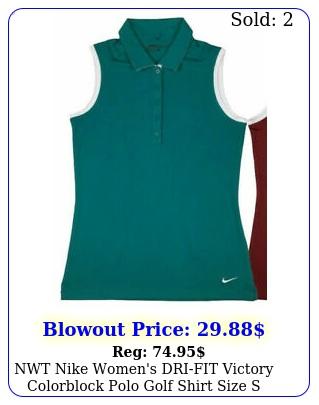 nwt nike women's drifit victory colorblock polo golf shirt size