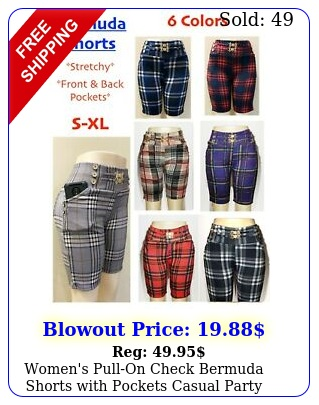 women's pullon check bermuda shorts with pockets casual party stretchy pant
