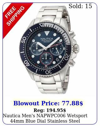 nautica men's napwpc wetsport mm blue dial stainless steel watc