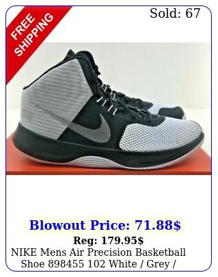 nike mens air precision basketball shoe  white grey blac