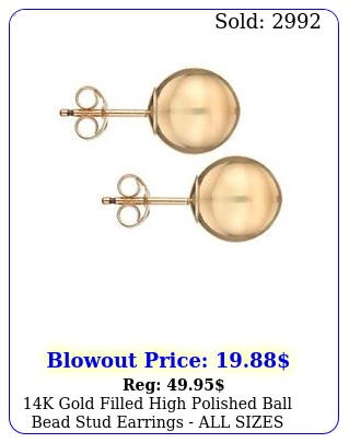 k gold filled high polished ball bead stud earrings all sizes mm m