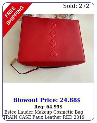 estee lauder makeup cosmetic bag train case faux leather re