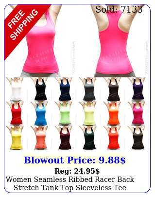 women seamless ribbed racer back stretch tank top sleeveless tee sports yoga gy